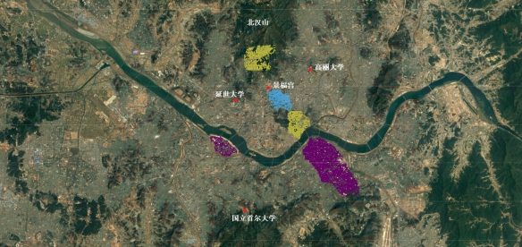 seoul map zoned doted noted
